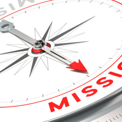 Compass pointing to Mission