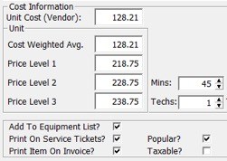inventory cost and part information