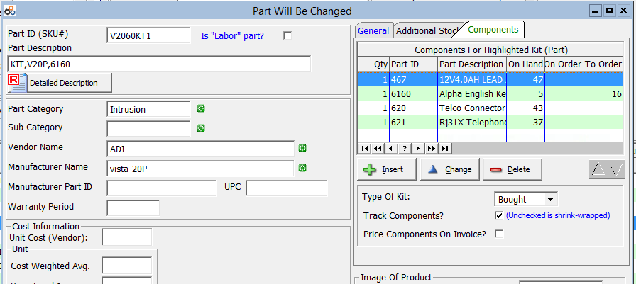 screenshot of alarm billing software kits assembly